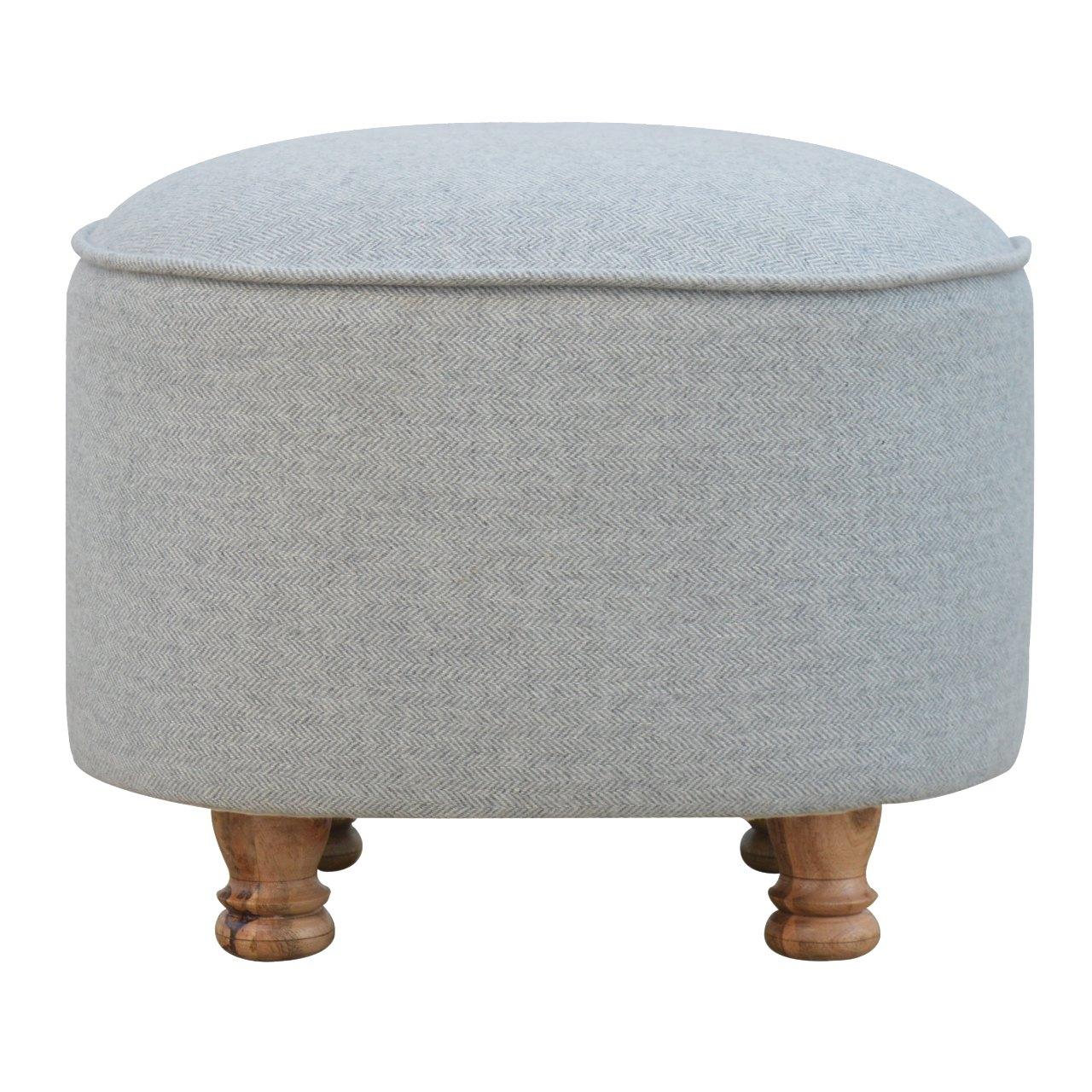 Handmade Solid Wood Light Grey Tweed Upholstered Oval Footstool Oak-Ish Bun Feet