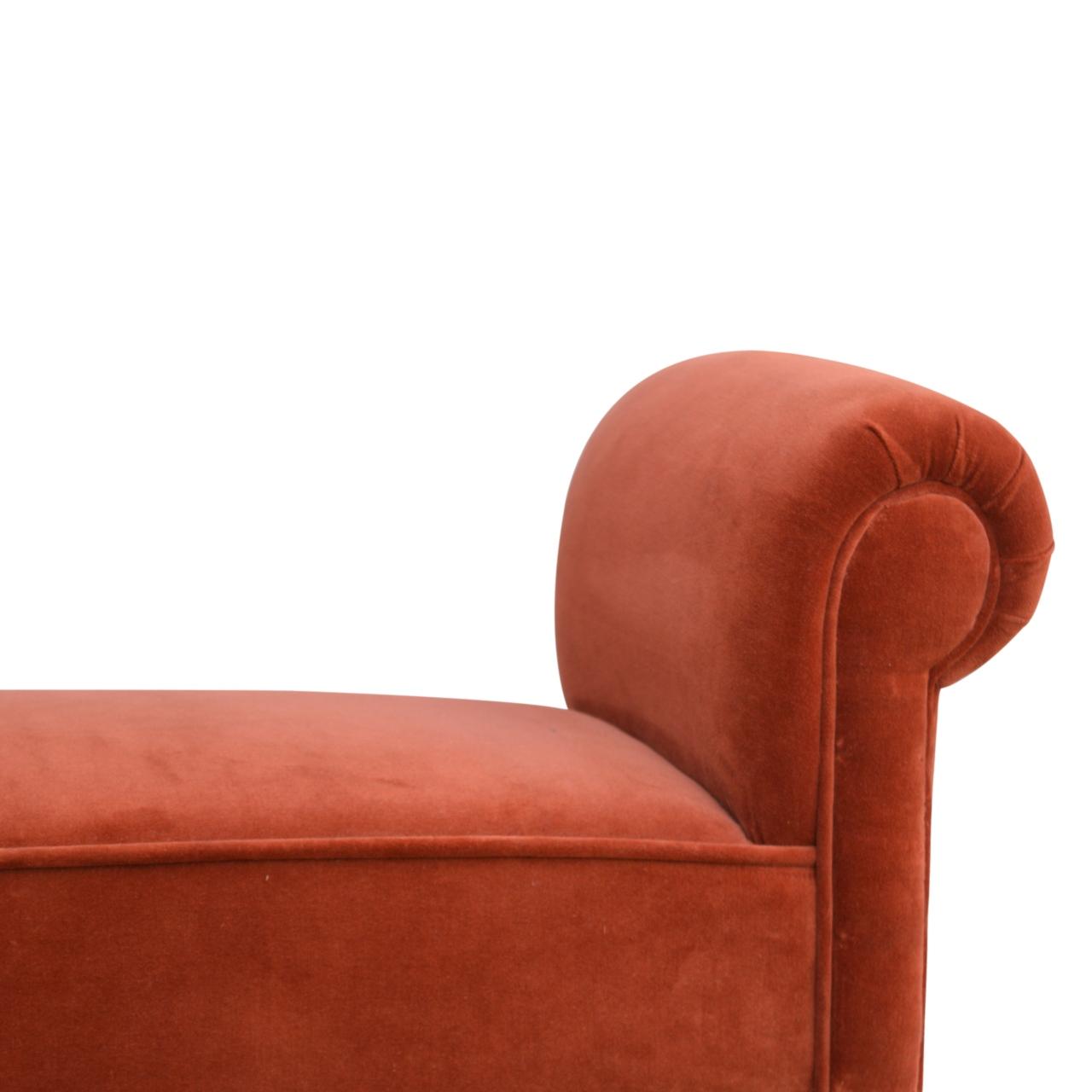 Brick Red Velvet Bench Artisan Furniture